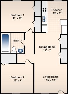 2 Bed / 1 Bath / 850 sq ft / Deposit: $300 / Rent: $600