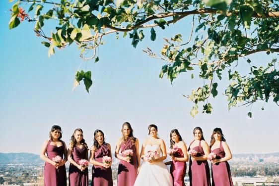 bride and bridesmaids _santa monica backdrop
