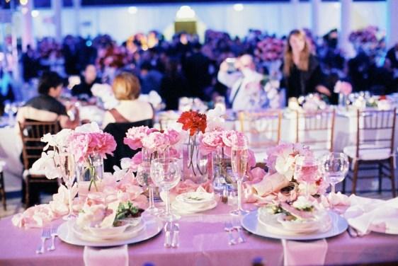 table setting reception_fushia, silver, pink atvibiana wedding
