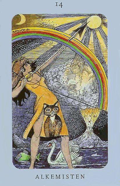 Alkemisten, or The Alchemist, Temperance Card from the Jolanda Tarot, aka The Swedish Witch Tarot