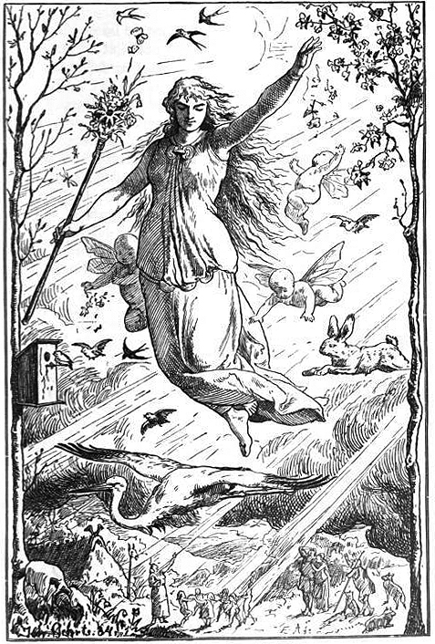 Ostara, by Johannes Gehrts, 1884. A black and white woodcut of a large Goddess in a flowing dress hovering over the land. They hold a long wand topped with flowers and greens. Birds, cherubs, and flowers swirl in the air around them. There is also a stork and a rabbit in the sky. Far below, tiny people dance in a ring in a beam of sunlight. Wheel of the Year