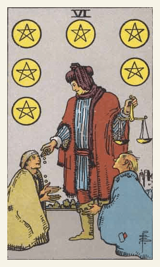 The Six of Pentacles Tarot card from the Pamela Colman Smith-Waite Tarot Deck.