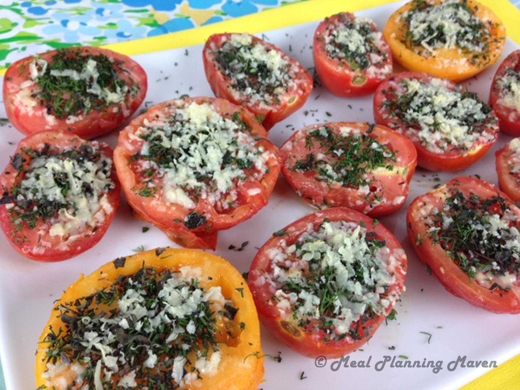 Grilled Parmesan 'n Herb-Crusted Tomatoes