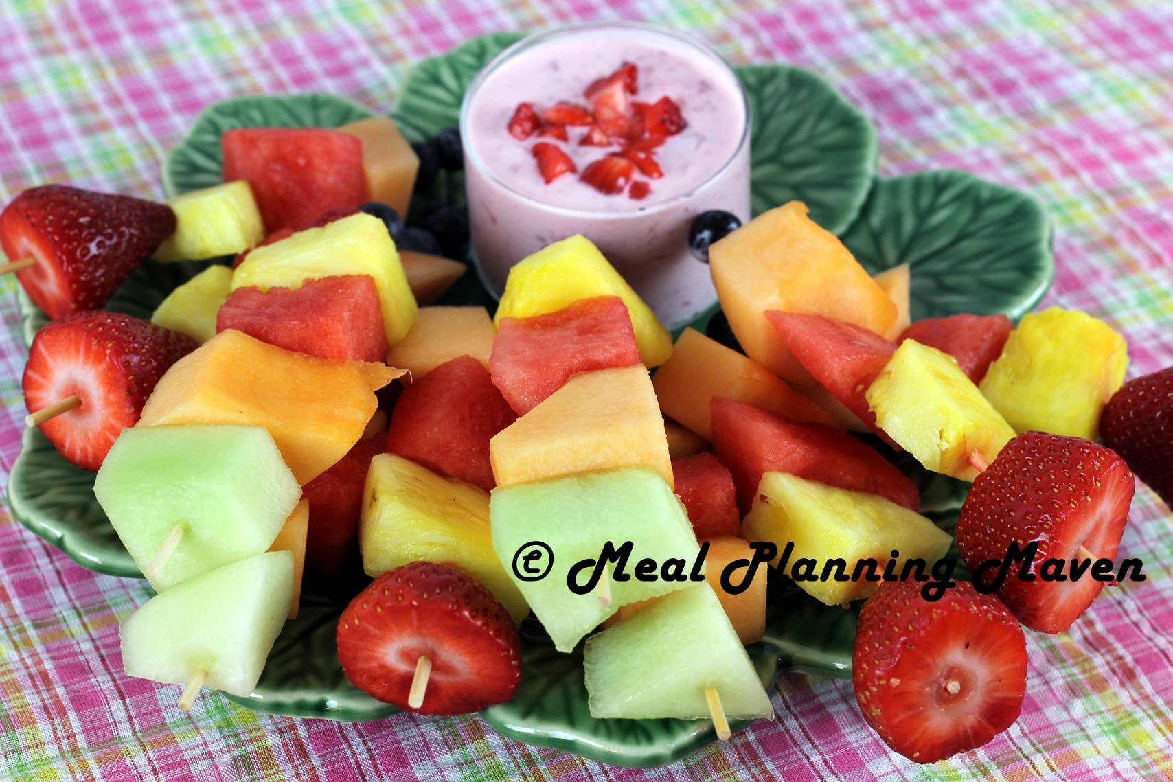 Mini Fruit Kabobs with Chunky Strawberry Yogurt Dip