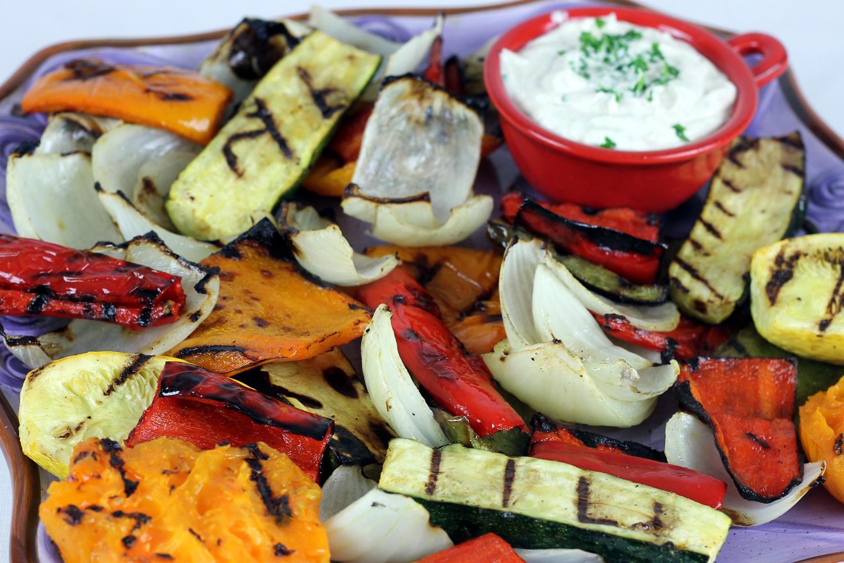 Grilled Vegetables with Yogurt-Tahini Dip