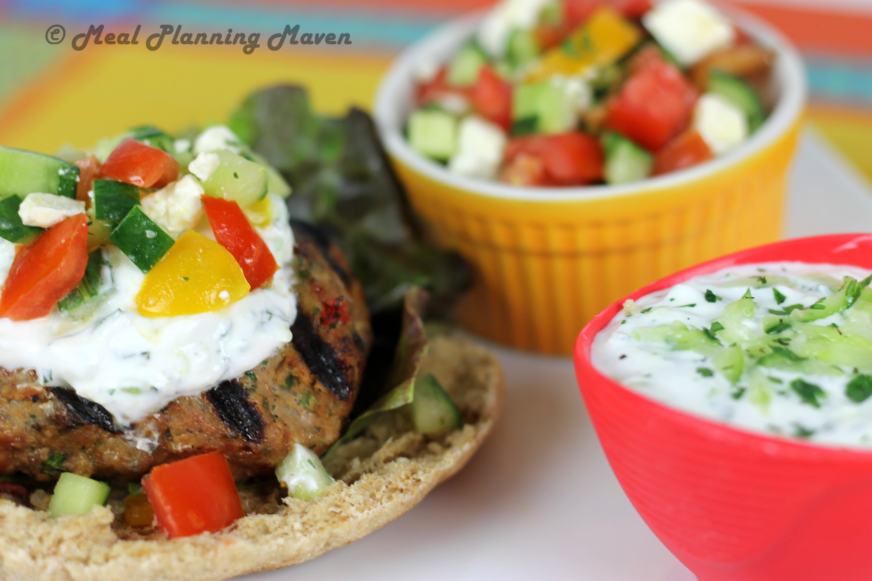 Grilled Mediterranean Turkey Burgers