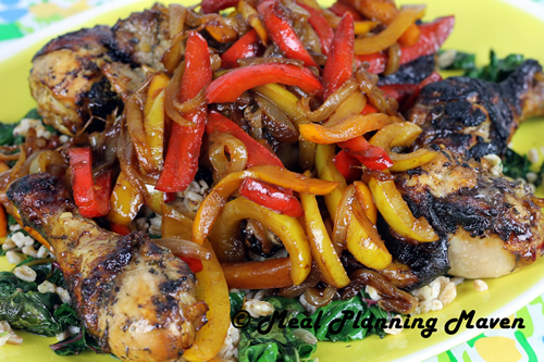 Roast Chicken with Trio of Balsamic-Glazed Peppers 'n Onions