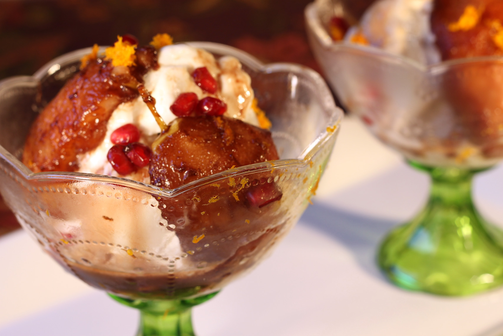 Cinnamon-Infused Pears with Pomegranate Syrup