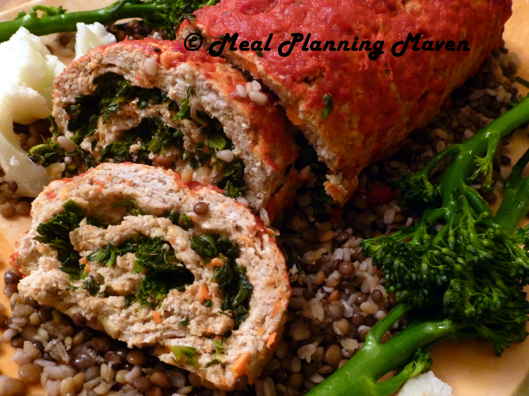 Turkey-Spinach Meatloaf Roulade
