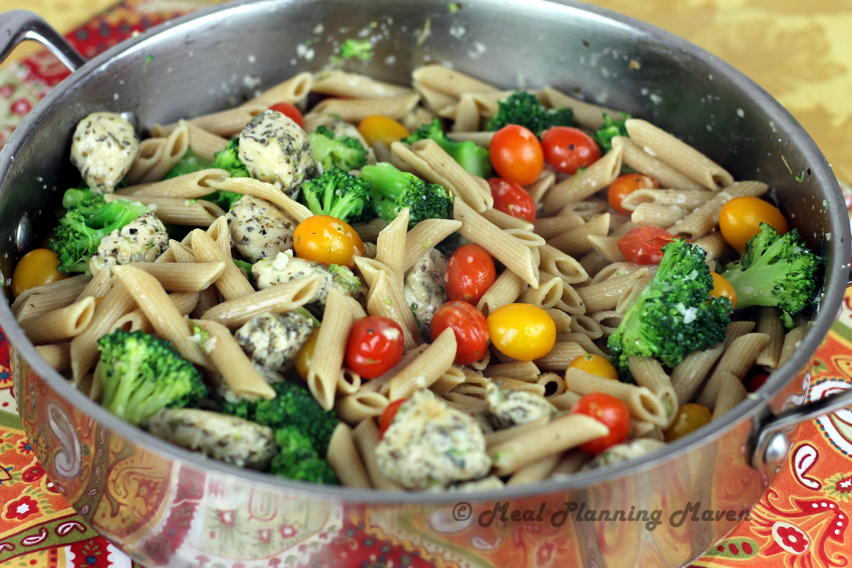 Garlicky Penne With Chicken, Broccoli N Grape Tomatoes -5345