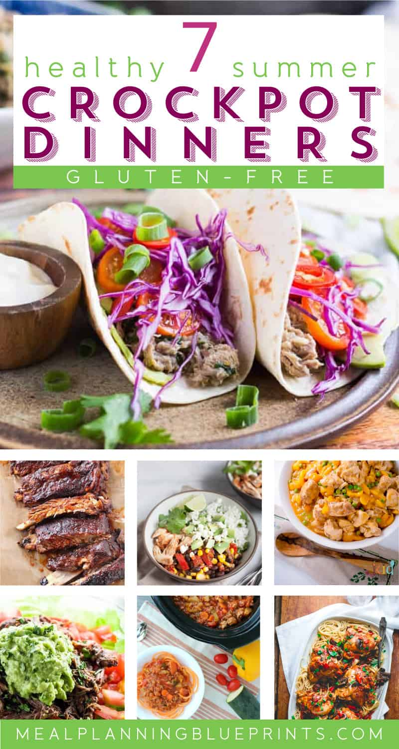Don't turn on your stove on a hot summer day! Make all these healthy and gluten-free dinners in your crockpot! Easy crockpot recipes | Kid Friendly Dinners | family dinners | quick and easy meals | meal planning