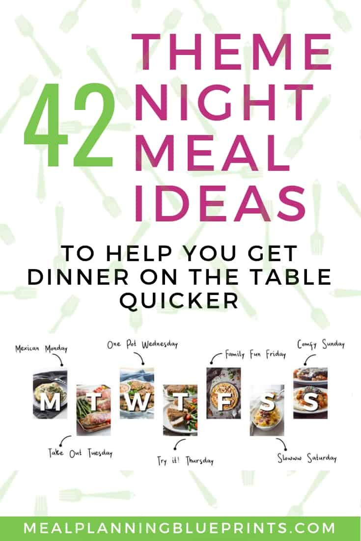 Dinner theme nights make meal planning super fast! Free printable with lots of meal planning theme night ideas!