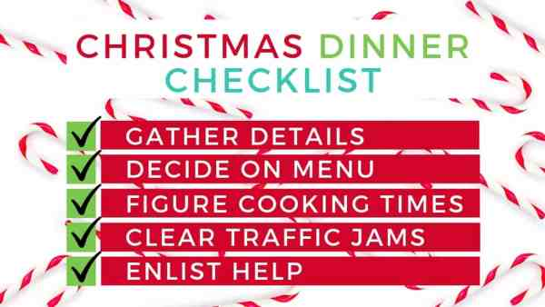 a graphic of How to Plan Christmas Dinner Checklist