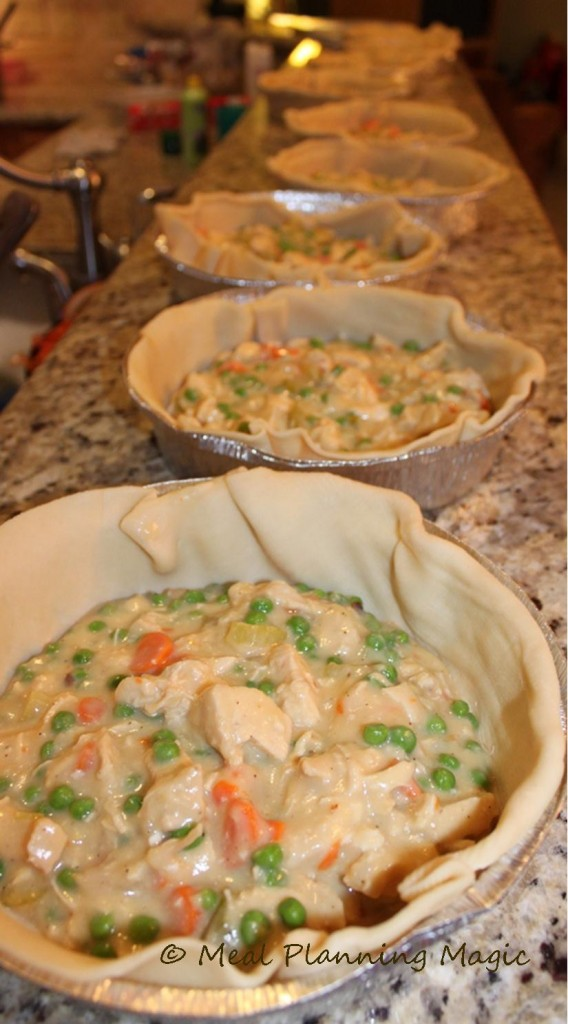 Freezable Chicken Pot Pie Recipe and Tutorial via Meal Planning Magic