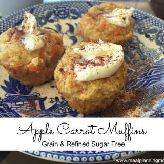 Apple Carrot Muffins-  Grain & Refined Sugar Free