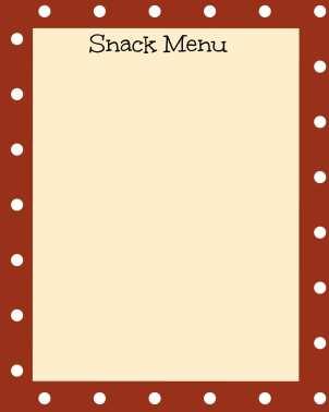 Blank Snack Menu burgandy