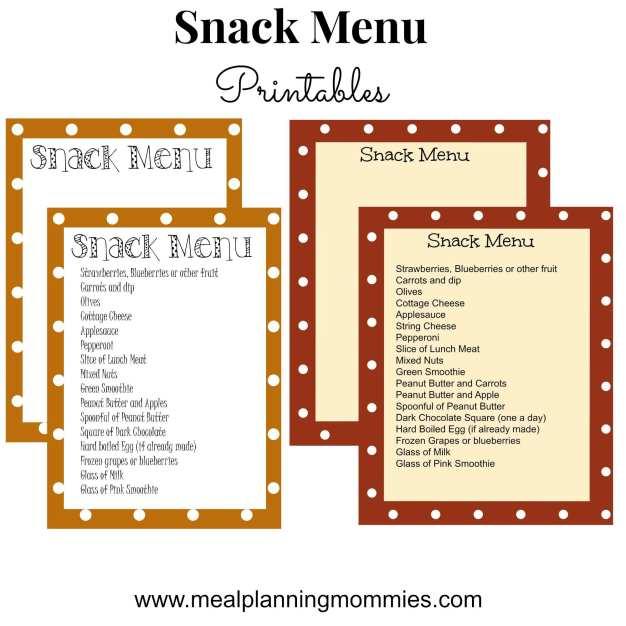 Free Snack Menu Printable