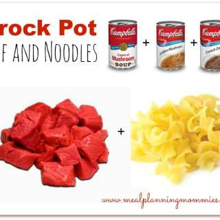 Easy Crockpot Beef and Noodles Using 3 Soup Cans!