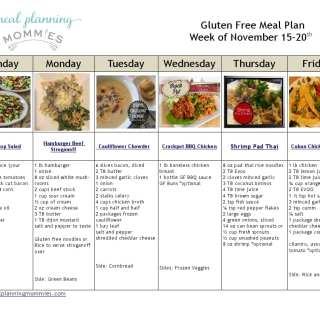 Gluten Free Meal Plan November 15-20