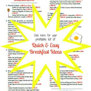Quick and Easy Breakfast ideas with Weight Watcher Smart Points