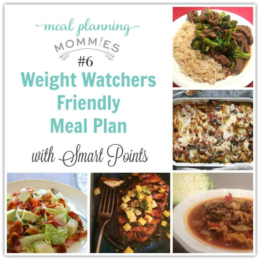 Meal Plan with SkinnyTaste recipes and Weight Watcher Smart Points. Found on Meal Planning Mommies