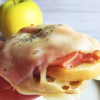 Open-Faced Apple, Ham and Swiss melts