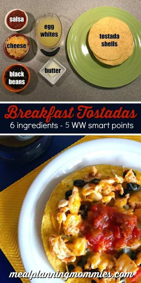 WW friendly breakfast idea- These Breakfast tostadas are just 5 WW FreeStyle Smart Points each!