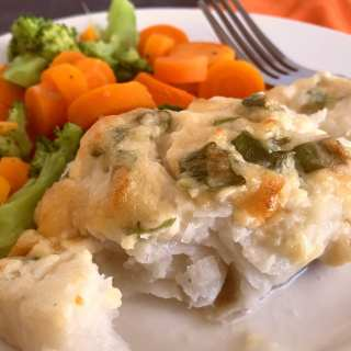 Baked Cod with Creamy Parmesan Mayo spread
