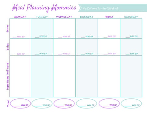 Weight Watcher meal plans with smart points printable