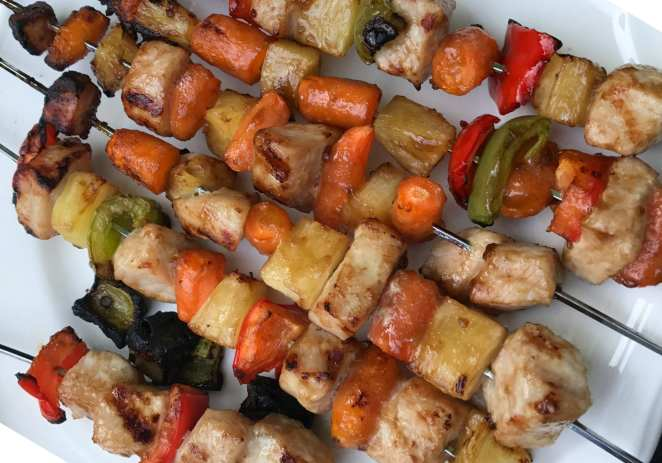 Sweet and Sour Pork and Pineapple Kabobs