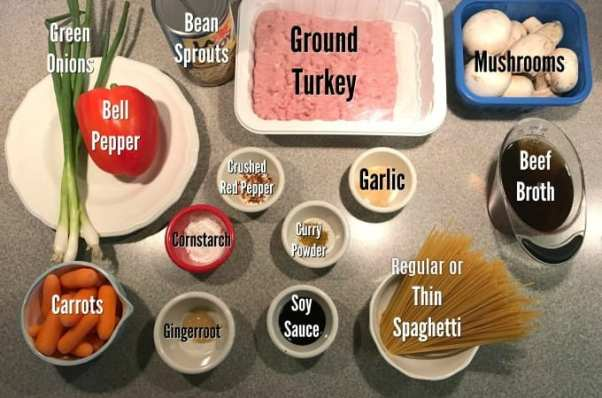 Ingredients for Turkey Lo Mein on Meal Planning Mommies