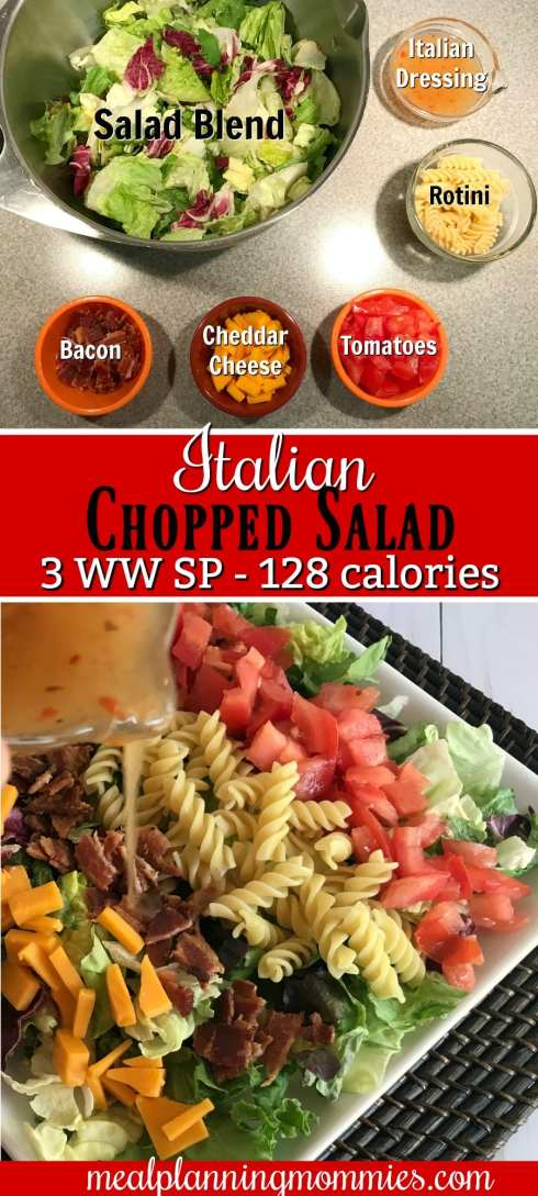 Italian Chopped Salad on Meal Planning Mommies- Just 3 WW SP and 128 calories per serving