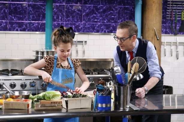 Girl cooking on Chopped Junior
