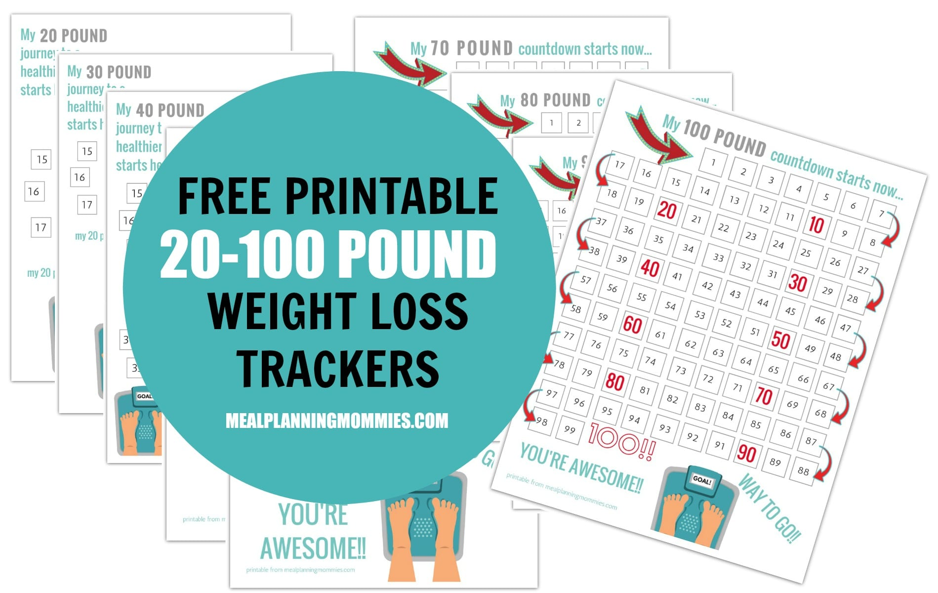Free Printable 20-100 Pound Weight Loss Trackers - Meal Planning Mommies