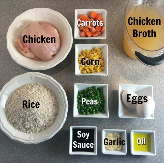 ingredients for a perfect chicken fried rice