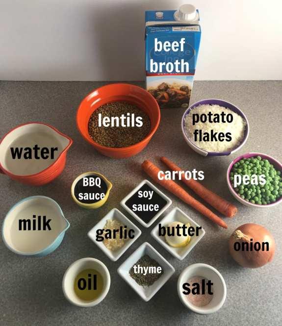Ingredients in a lentil shepherds pie