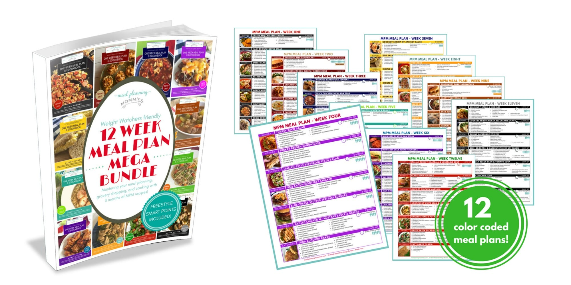 """I love this """"12 Week Meal Plan Mega Bundle"""" ebook from Meal Planning Mommies. All recipes include WW FreeStyle SmartPoints per serving."""