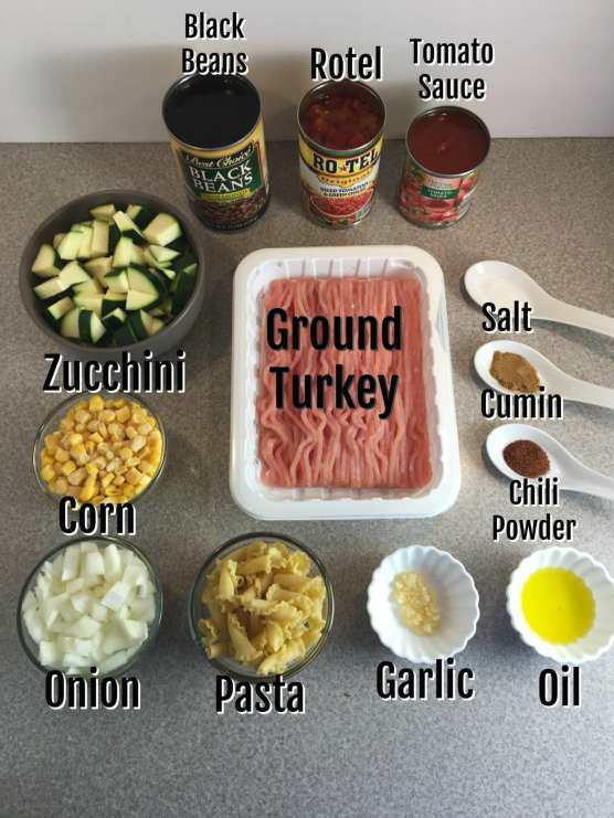 ingredients for southwestern turkey and vegetable pasta dish