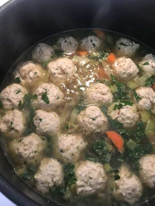 Cooking meatballs in Italian-Style Wedding Soup