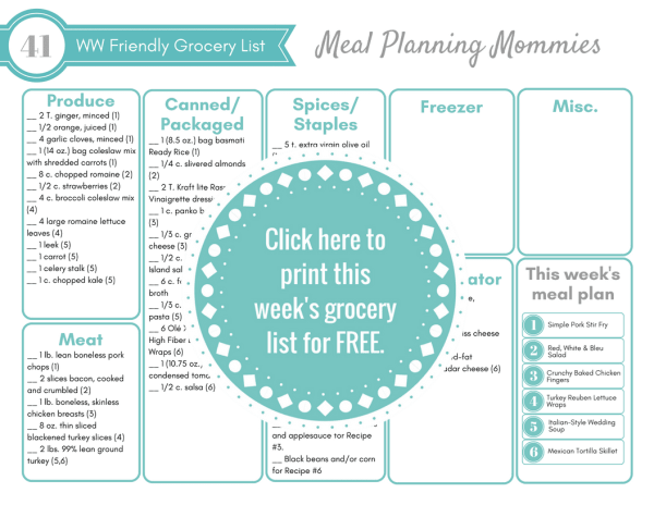 Free Weight Watchers meal plan with Free printable grocery list on Meal Planning Mommies. FreeStyle SmartPoints included with each recipe.
