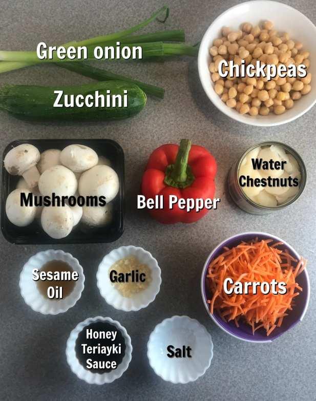 Ingredients for a delicious vegetarian and WW friendly Honey Teriyaki stir fry recipe.