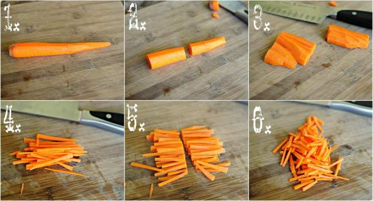 How to cut matchstick carrots