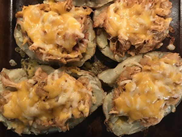 Cook until cheese melts on the Shredded BBQ Twice Baked Potatoes.