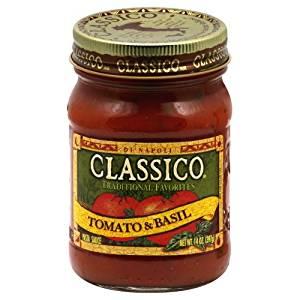 Classico Tomato and Basil spaghetti sauce for the Turkey Parmesan Quesadillas.