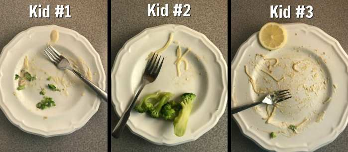 What my kid's plates looked like after they finished eating their Lemon Chicken Scallopini. YUM!