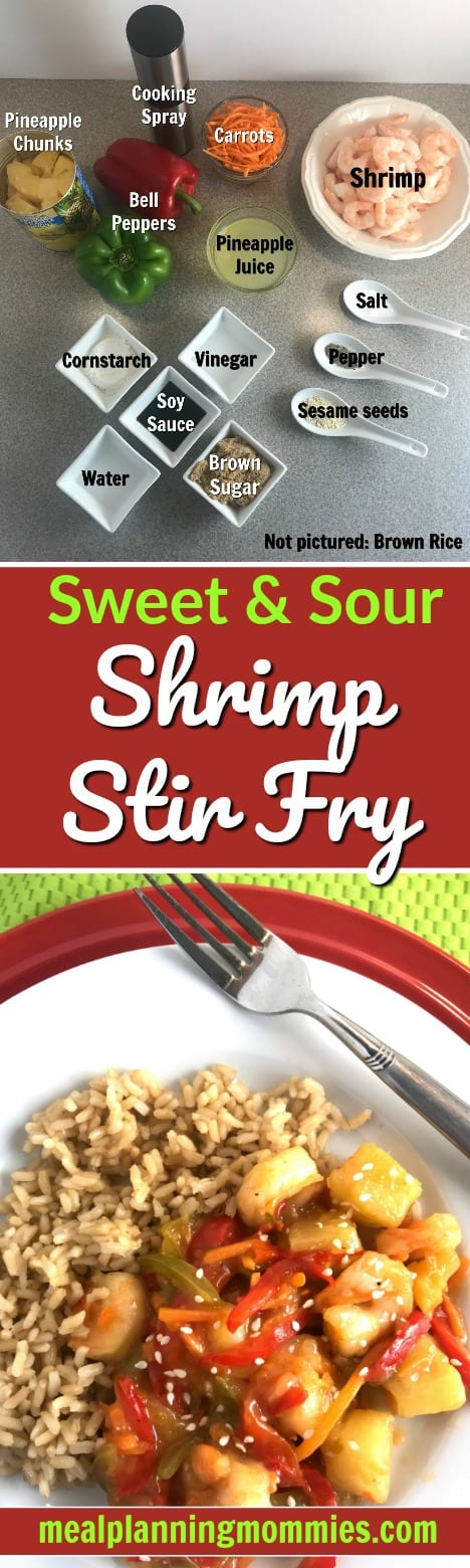 This sweet and sour shrimp stir fry is 4 Weight Watcher SmartPoints on the FreeStyle program. Includes shrimp, pineapple, and bell peppers in a sweet and sour sauce served with brown rice on the side.