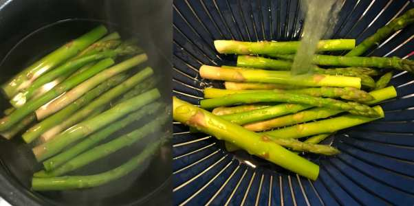 Cook asparagus until crispy tender, about 3 minutes and run under cold water.