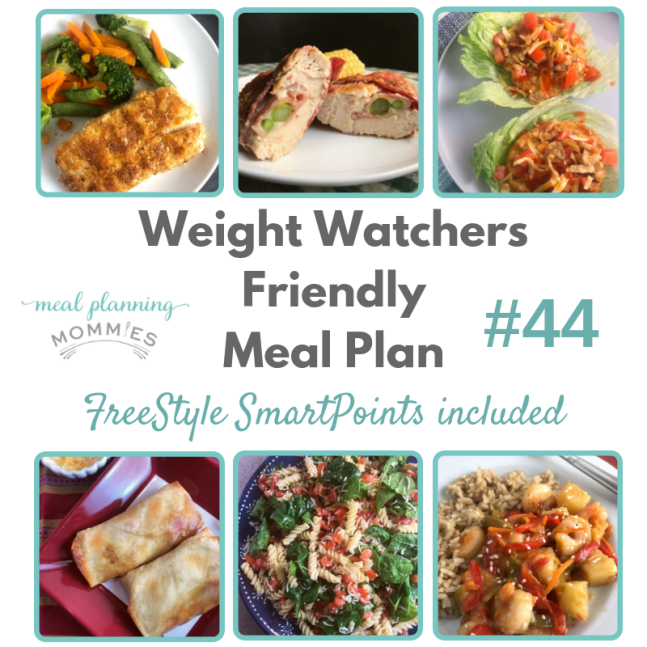 Free Weight Watchers meal plan with six delicious dinner recipes that are low in FreeStyle Smart Points. Free printable grocery list comes with this meal plan.