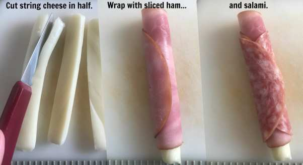 Cut string cheese in half lengthwise and wrap them in ham and salami to make delicious Italian sub snacks.