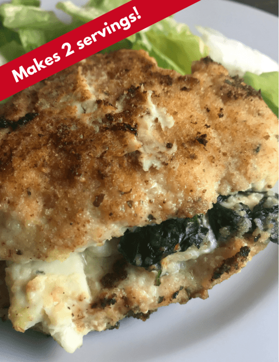 2 servings Weight Watchers recipe: Cheesy Spinach Stuffed Chicken Breasts - Just 4 WW FreeStyle Smart Points per serving!